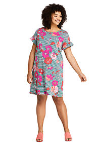 24c1565dd8e Women s Plus Size Short Sleeve Ruffle Knit Print Tee Shirt Dress