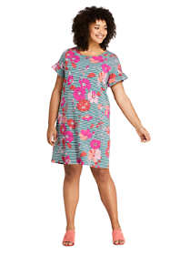 Women's Plus Size Short Sleeve Ruffle Knit Print Tee Shirt Dress