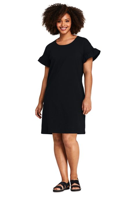 Women's Plus Size Short Sleeve Ruffle Knit Tee Shirt Dress