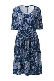 Women's Elbow Sleeve Knee Length Fit and Flare Dress - Floral, Front