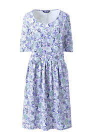 Women's Plus Size Elbow Sleeve Knee Length Fit and Flare Dress - Floral
