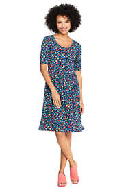 Women's Petite Floral Short Sleeve Fit and Flare Dress