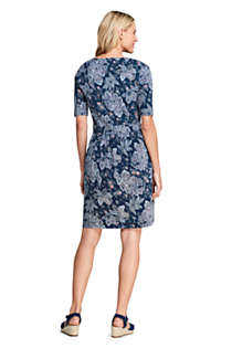 Women's Elbow Sleeve Knee Length Fit and Flare Dress - Floral, Back