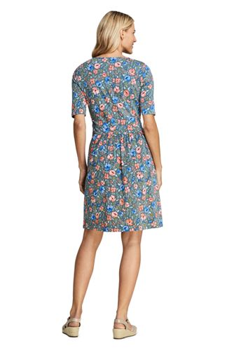 Women's Elbow Sleeve Knee Length Fit and Flare Dress - Floral