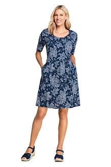 Women's Elbow Sleeve Fit and Flare Printed Dress