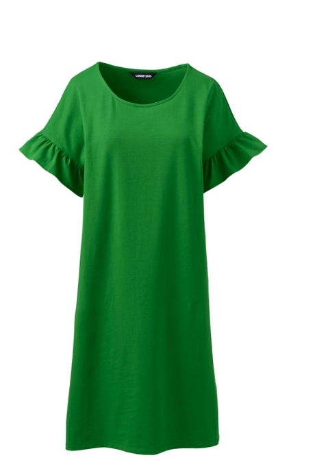 Women's Petite Short Sleeve Ruffle Knit Tee Shirt Dress