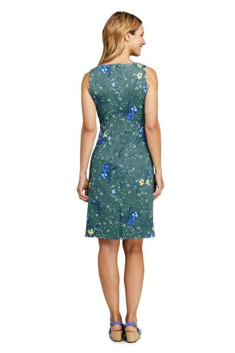 Women's Petite Sleeveless Scoopneck Print Ponte Sheath Dress
