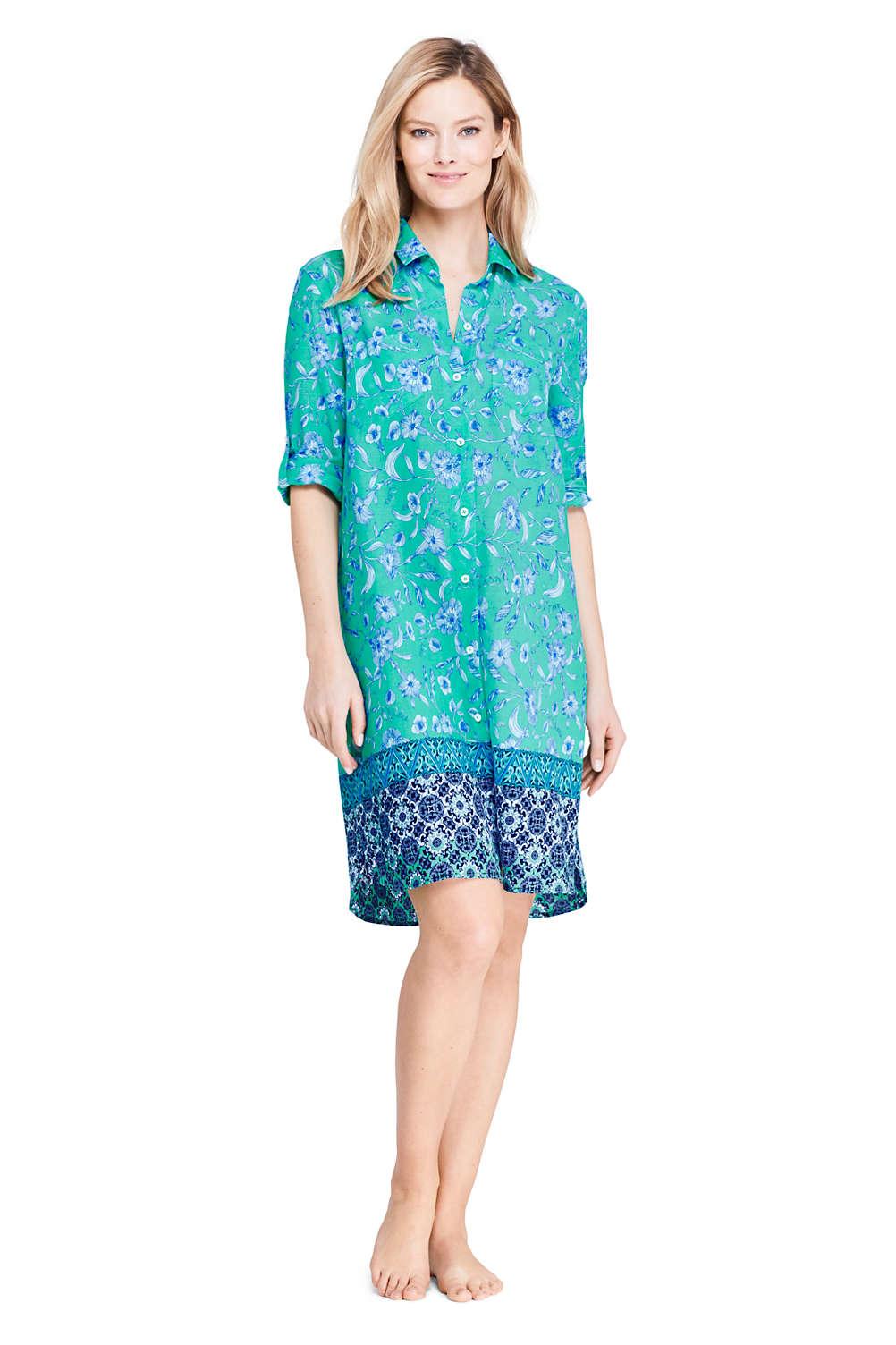 767378e43117f Women's Cotton Button Down Shirt Dress Swim Cover-up Print from Lands' End