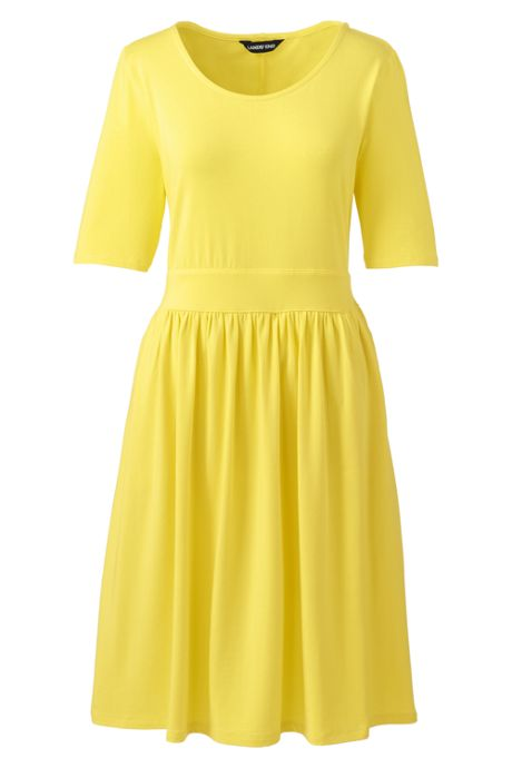 Women's Plus Size Elbow Sleeve Fit and Flare Dress