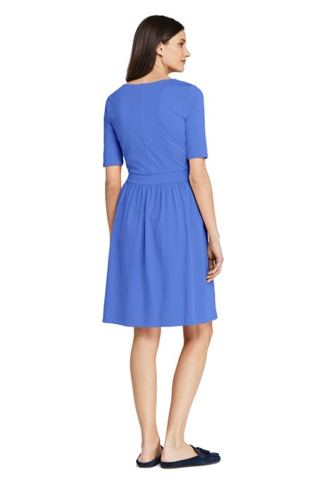 Women's Petite Elbow Sleeve Fit and Flare Dress