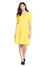 Women's Elbow Sleeve Knee Length Fit and Flare Dress
