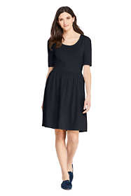 Women's Petite Elbow Sleeve Knee Length Fit and Flare Dress