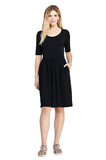 Women's Elbow Sleeve Fit and Flare Dress