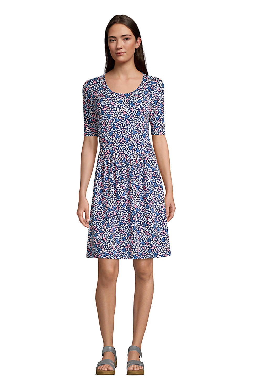 Lands End Elbow Sleeve Knee Length Fit and Flare Dress