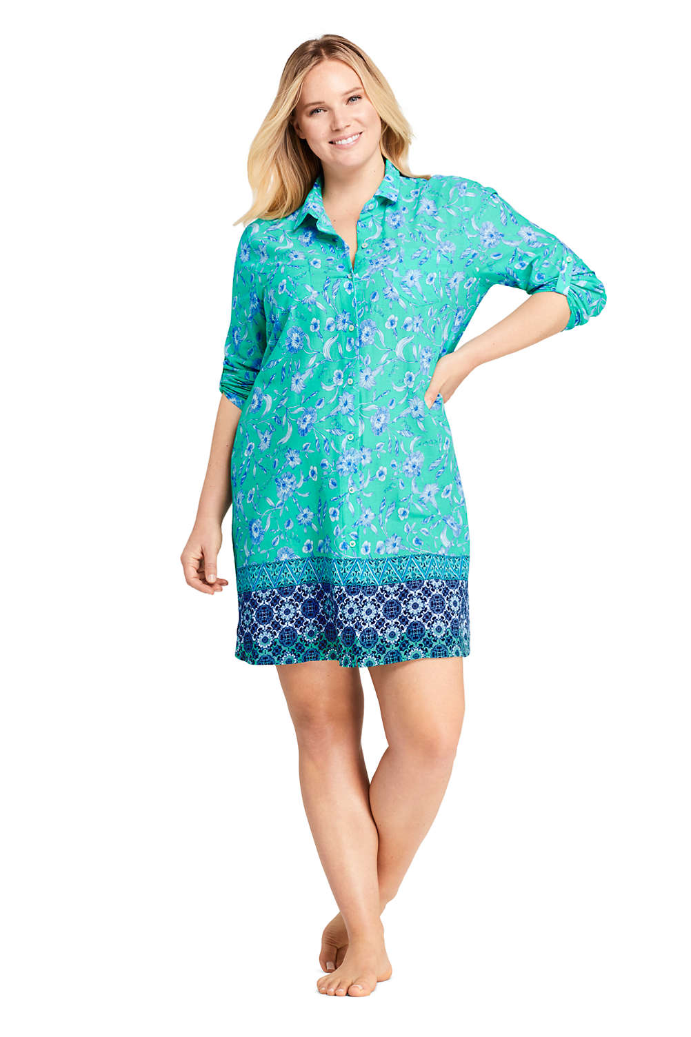 Women\'s Plus Size Cotton Button Down Shirt Dress Swim Cover-up Print ...