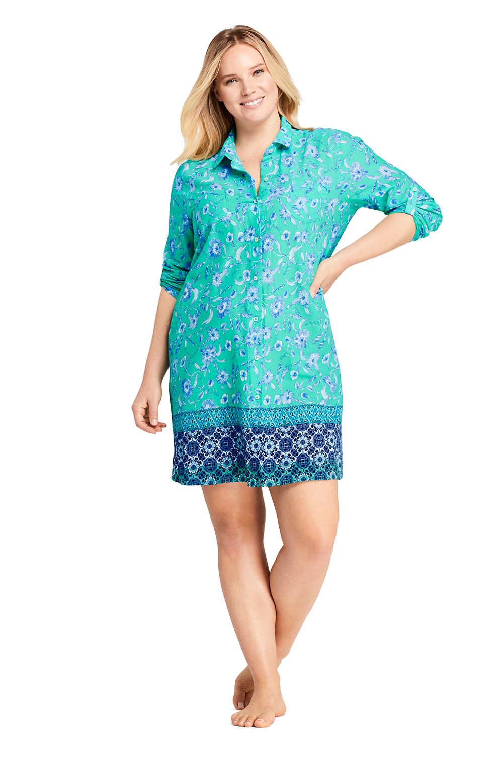 Women\'s Plus Size Cotton Button Down Shirt Dress Swim Cover-up Print ...