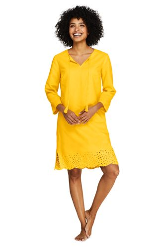 Women's Beach Cover-up with Embroidered Hem