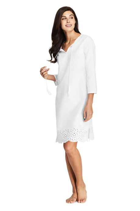 Women's Petite Linen Eyelet Tunic Swim Cover-up