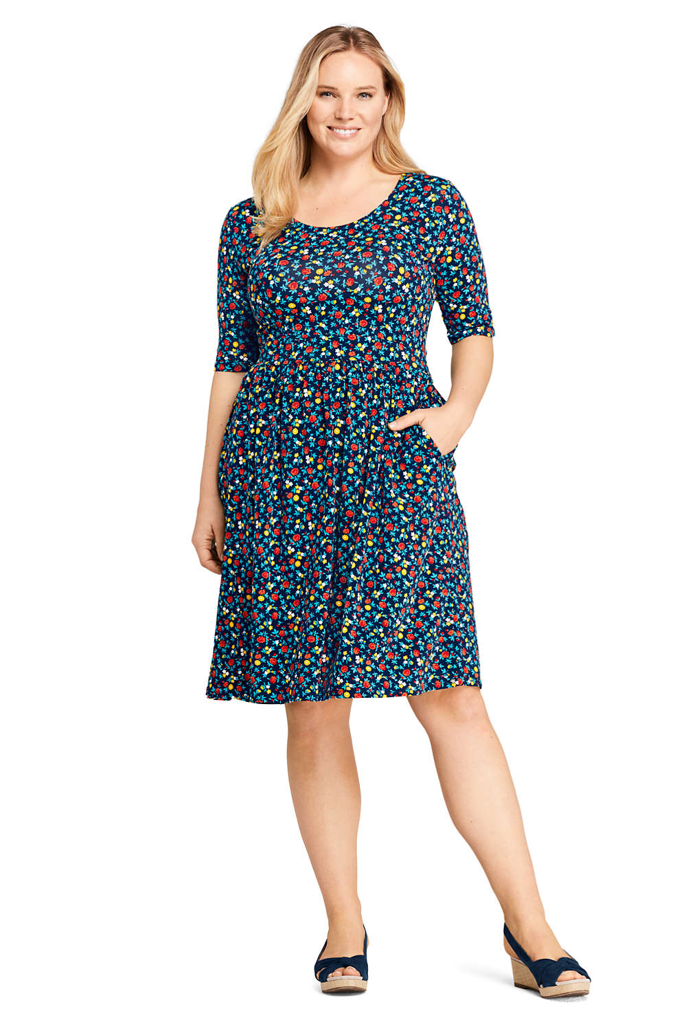Women\'s Plus Size Elbow Sleeve Floral Fit and Flare Dress from Lands ...