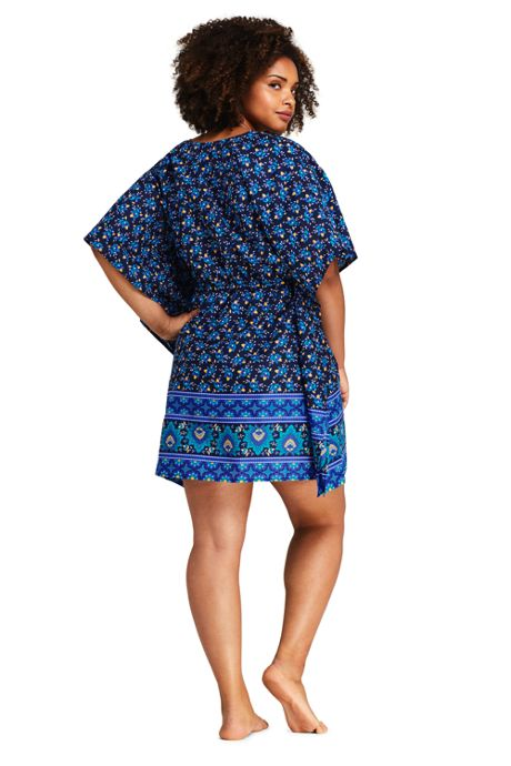Women's Plus Size Cotton Lawn Kaftan Swim Cover-up Print