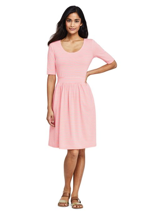 Women's Petite Elbow Sleeve Stripe Fit and Flare Dress