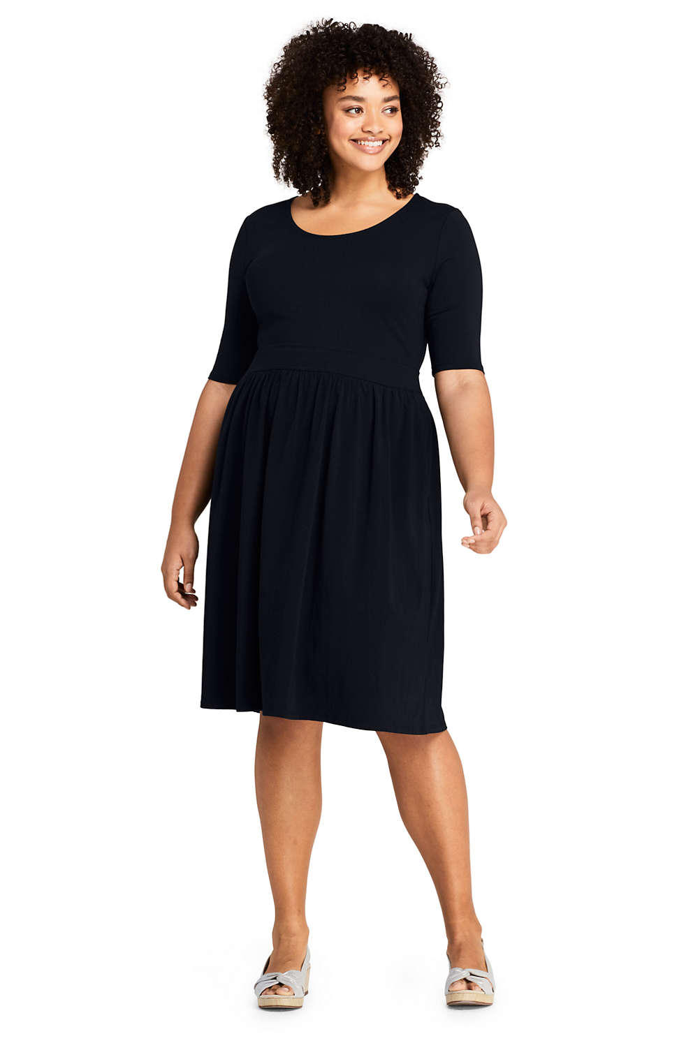 a61889facc8 Women s Plus Size Elbow Sleeve Fit and Flare Dress from Lands  End