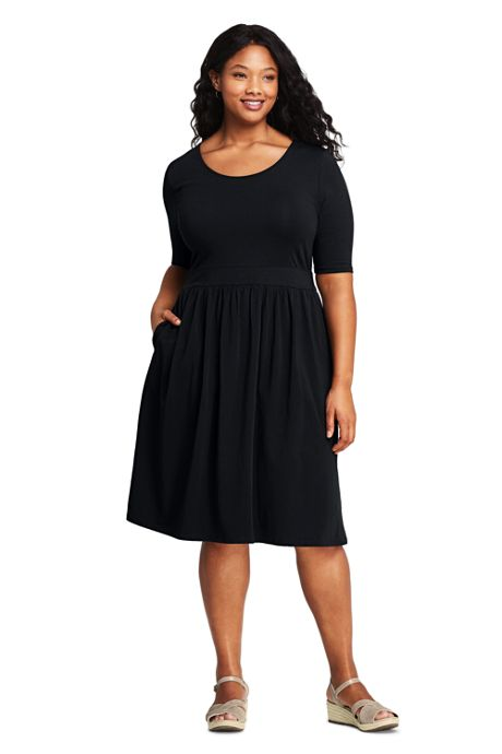 Women's Plus Size Elbow Sleeve Knee Length Fit and Flare Dress