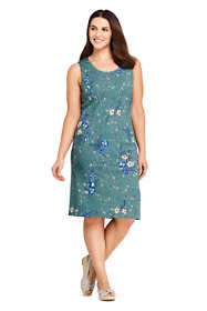 Women's Plus Size Sleeveless Scoopneck Print Ponte Sheath Dress