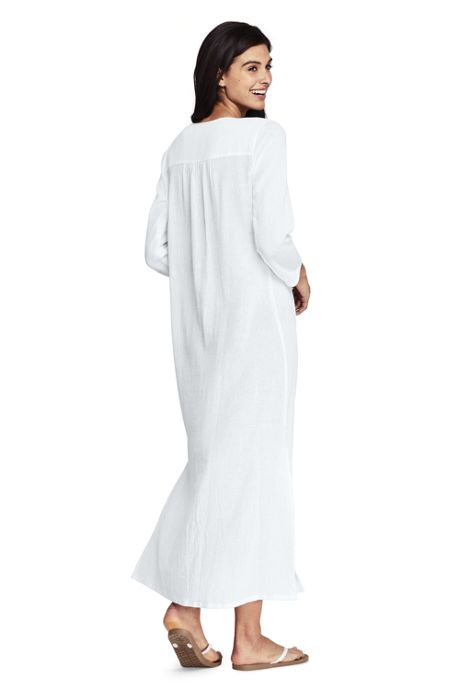 Women's Cotton Embroidered Midi Kaftan Swim Cover-up Dress