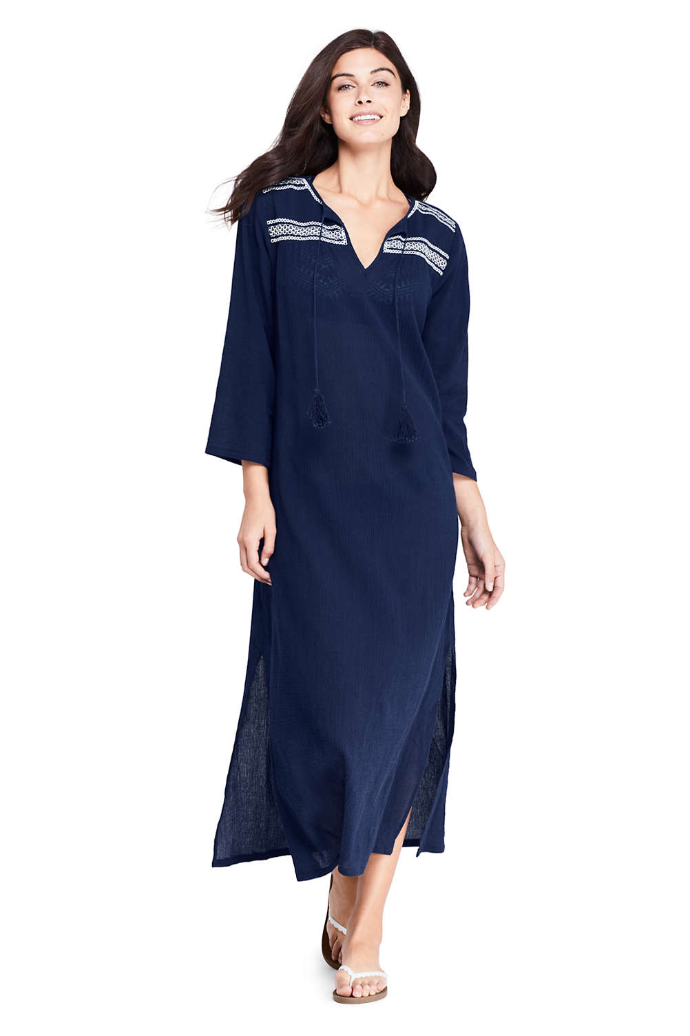 3cb4523943 Women's Cotton Embroidered Midi Kaftan Swim Cover-up Dress from Lands' End