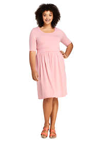 Women's Plus Size Elbow Sleeve Stripe Fit and Flare Dress
