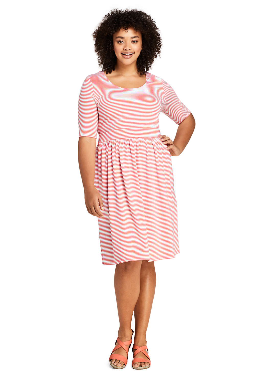 Women\'s Plus Size Elbow Sleeve Stripe Fit and Flare Dress