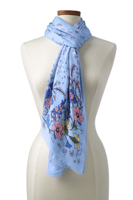 Women's Floral Border Scarf