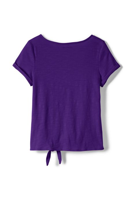 Little Girls Knot Front Slub Top