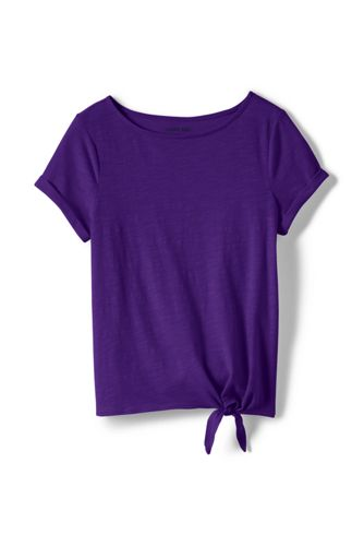 T-shirt en Coton Flammé Uni, Fille