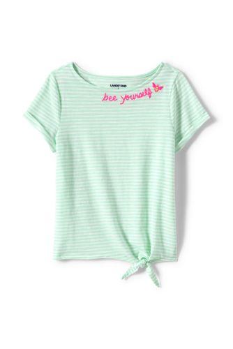 T-shirt en Coton Flammé Rayé, Fille