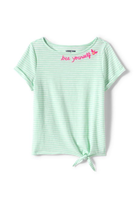 Girls Knot Front Slub Knit Top