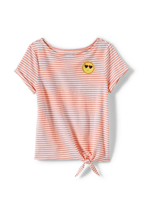 Little Girls Knot Front Slub Knit Top