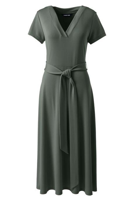 Women's Petite Short Sleeve Matte Jersey Tie Waist Dress