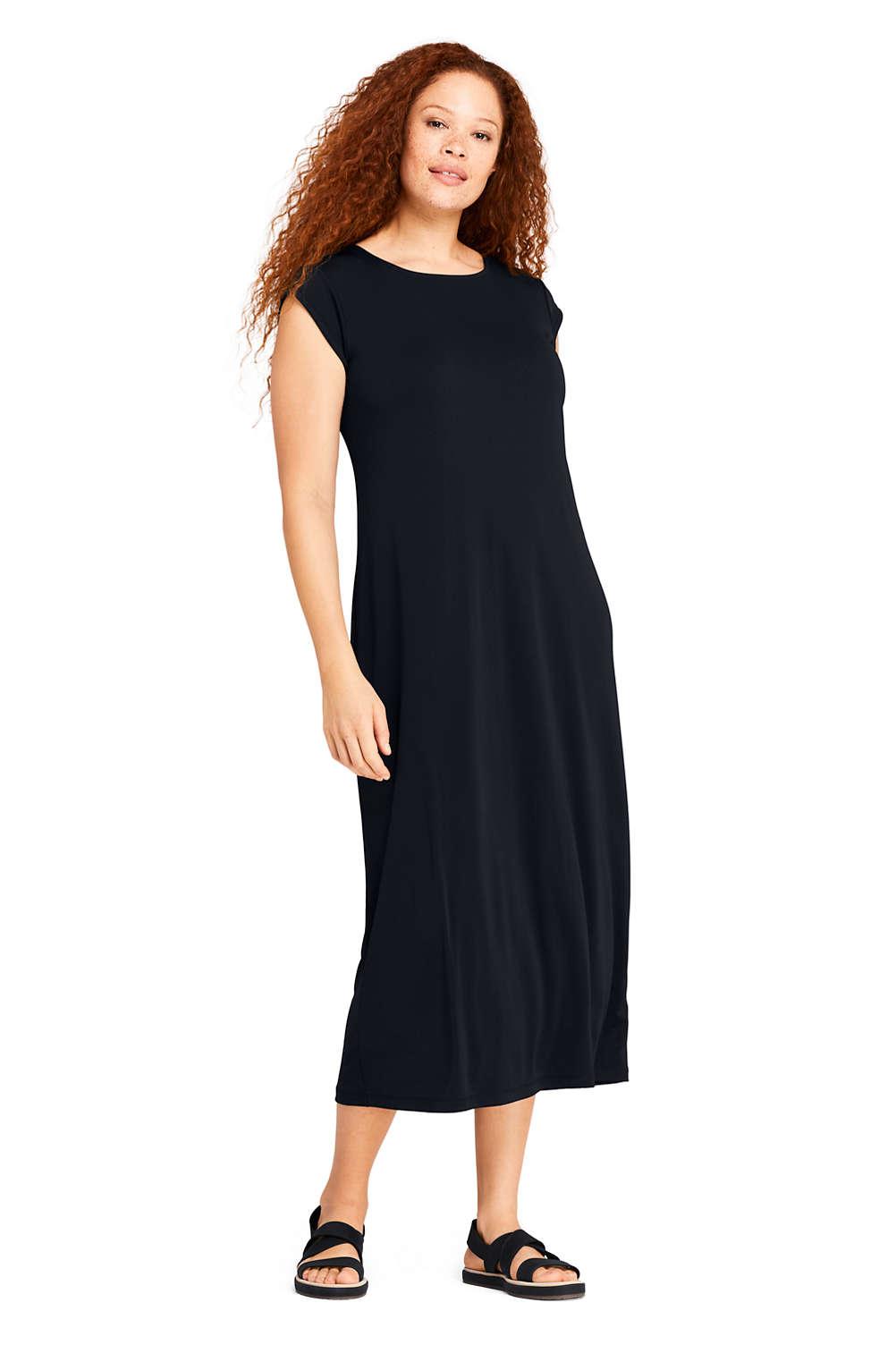 59d64fe82d4 Women s Plus Size Cap Sleeve Matte Jersey Tee Shirt Dress from Lands  End