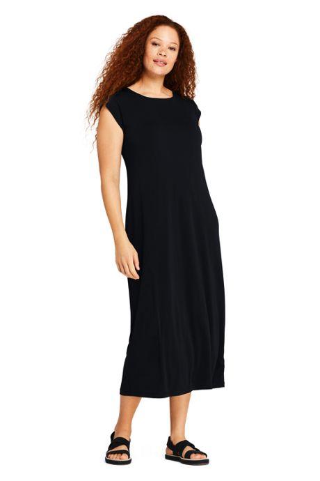 Women's Plus Size Cap Sleeve Matte Jersey Tee Shirt Dress