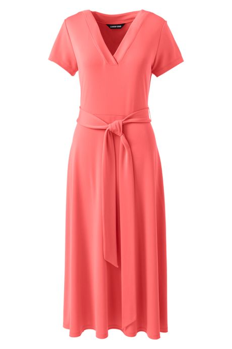 Women's Short Sleeve Matte Jersey Tie Waist Dress