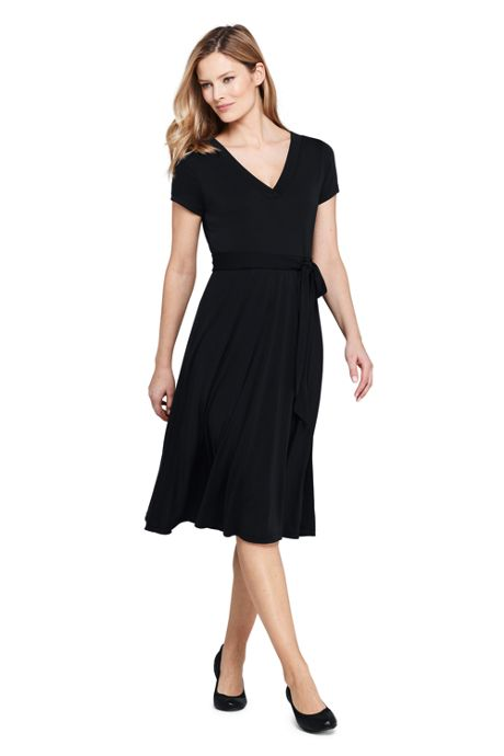 Women's Petite Short Sleeve Matte Jersey Tie Waist Dress