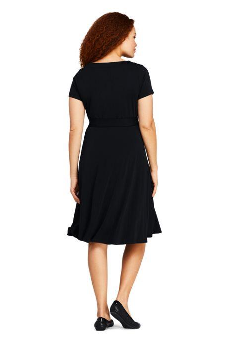 Women's Plus Size Short Sleeve Matte Jersey Tie Waist Dress