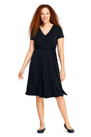 Women's Plus Size Short Sleeve Matte Jersey Tie Waist Dress