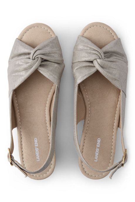 Women's Canvas Slingback Wedge Sandals