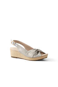 Women's Wide Canvas Slingback Wedge Sandals