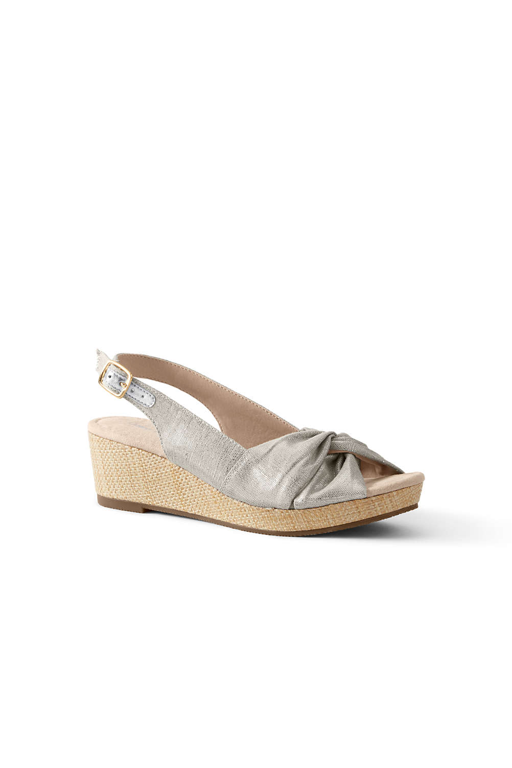 4a5feb713e Women's Canvas Slingback Wedge Sandals from Lands' End