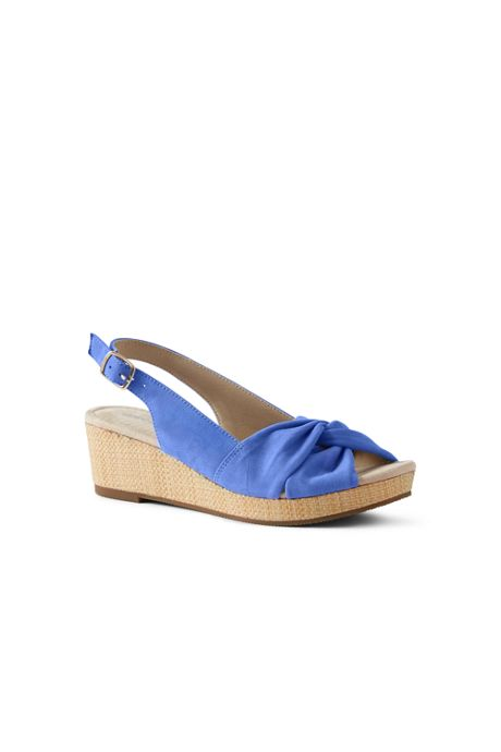 Women's Wide Suede Slingback Wedge Sandals