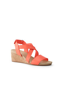 Women's Leather Cork Wedge Sandals